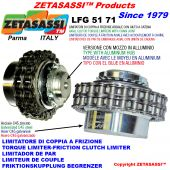 """TORQUE LIMITER WITH CHAIN COUPLING (LIGHT ALLOY HUB) """"LFG 51-71"""""""
