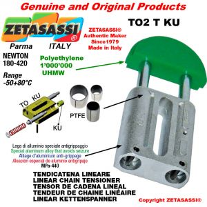 """TENDEUR DE CHAINE LINÉAIRE 16B1 1""""x17mm simple Newton 180-420 avec bagues PTFE"""