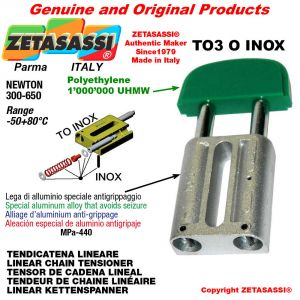 "LINEAR CHAIN TENSIONER type INOX 16B1 1""x17mm simple Newton 250-450"