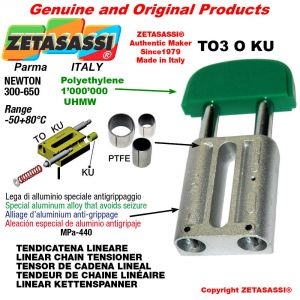 LINEAR CHAIN TENSIONER 16A1 ASA80 simple Newton 300-650 with PTFE glide bushings