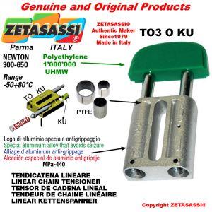 TENSOR DE CADENA LINEAL 16A1 ASA80 simple Newton 300-650 con casquillos PTFE