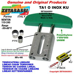 """Tendicatena lineare serie inox 06B1 3/8""""x7/32"""" semplice Newton 110-240 con boccole PTFE"""