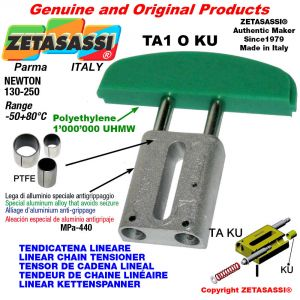 LINEAR CHAIN TENSIONER 08A2 ASA40 double Newton 130-250 with PTFE glide bushings