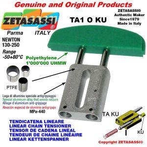 Tendicatena lineare 08A2 ASA40 doppio Newton 130-250 con boccole PTFE