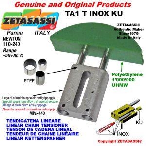 """Tendicatena lineare serie inox 08B3 1/2""""x5/16"""" triplo Newton 110-240 con boccole PTFE"""