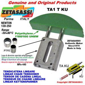 TENSOR DE CADENA LINEAL 08A1 ASA40 simple Newton 130-250 con casquillos PTFE