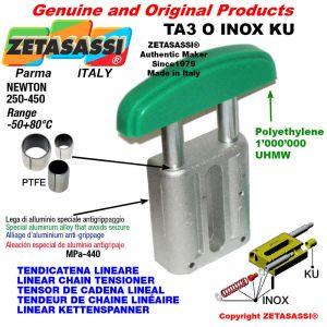 """TENSOR DE CADENA LINEAL tipo INOX 20B1 1""""1/4x3/4"""" simple Newton 250-450 con casquillos PTFE"""