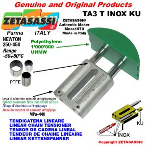 LINEAR CHAIN TENSIONER type INOX 20A3 ASA100 triple Newton 250-450 with PTFE glide bushings