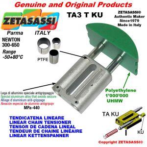 TENSOR DE CADENA LINEAL 24A1 ASA120 simple Newton 300-650 con casquillos PTFE