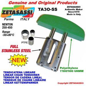 """TENSOR DE CADENA LINEAL completamente de acero inoxidable 24B1 1""""1/2x1"""" simple Newton 250-450"""