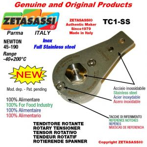 ROTARY DRIVE TENSIONER TC1-SS Completely in stainless steel hole Ø10,5mm for attachment of accessories Newton 45-190