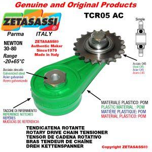 "TENDICATENA ROTANTE TCR05AC con pignone tendicatena semplice 08B1 1\2""x5\16"" Z14 Newton 30-80"