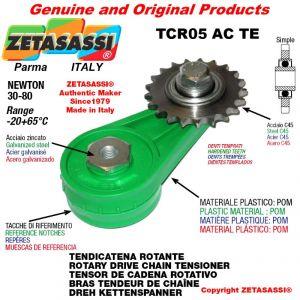 "Tendicatena rotante TCR05ACTE con pignone tendicatena semplice 08B1 1\2""x5\16"" Z16 temprati Newton 30-80"