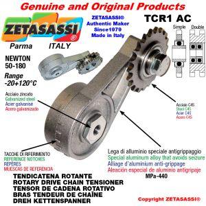 """TENSOR DE CADENA ROTATIVO TCR1AC con engrasador con piñon tensor simple 06B1 3\8""""x7\32"""" Z21 Newton 50-180"""