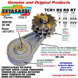 "TENDICATENA ROTANTE TCR1RSRDRT con ingrassatore con pignone tendicatena 08B3 1\2""x5\16"" tripla Z15 Newton 50-180"