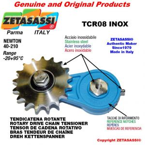 "TENDICATENA ROTANTE TCR08 con pignone tendicatena semplice 16B1 1""x17 Z12 acciaio inox Newton 40-210"