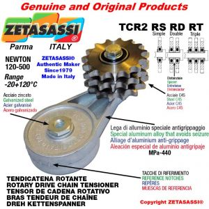 "Tendicatena rotante TCR2RSRDRT con pignone tendicatena 16B2 1""x17 doppio Z12 Newton 120-500"
