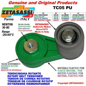 TENSOR DE CORREA ROTATIVO TC05PU equipado de rodillo tensor con rodamientos Ø50xL50 en nailon Newton 30-80
