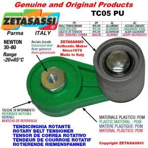 BRAS TENDEUR DE COURROIE TC05PU équipé de galet de tension avec roulements Ø30xL35 en nylon Newton 30-80