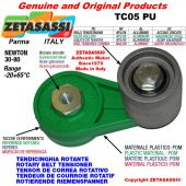 TENSOR DE CORREA ROTATIVO TC05PU equipado de rodillo tensor con rodamientos Ø30xL35 en acero cincado Newton 30-80