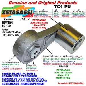 ROTARY DRIVE BELT TENSIONER TC1PU wiht greaser and idler roller with bearings Ø80xL80 in aluminum Newton 50-180