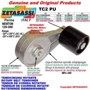 TENSOR DE CORREA ROTATIVO TC2PU equipado de rodillo tensor con rodamientos Ø80xL80 en acero cincado Newton 120-500