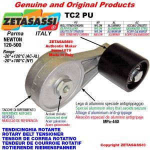 TENSOR DE CORREA ROTATIVO TC2PU equipado de rodillo tensor con rodamientos Ø50xL50 en nailon Newton 120-500