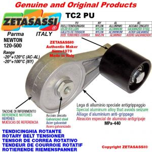 Tendicinghia rotante TC2PU con rullo tendicinghia Ø40xL45 in Nylon Newton 120-500