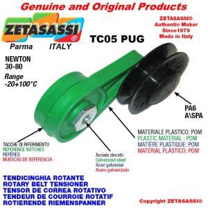 """TENSOR DE CORREA ROTATIVO TC05PUG con polea y rodamientos en nylon tipo PUG 4"""" para correa A/SPA  Newton 30-80"""