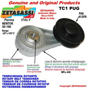 "ROTARY DRIVE BELT TENSIONER TC1PUG with rim pulley and bearings  PUG 4"" made of nylon for belt A/SPA Newton 50-180"