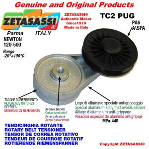 """BRAS TENDEUR DE COURROIE TC2PUG avec poulie en nylon avec roulements type PUG 4"""" pour courroie A/SPA Newton 120-500"""