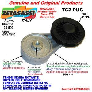 """TENSOR DE CORREA ROTATIVO TC2PUG con polea y rodamientos en nylon tipo PUG 4"""" para correa A/SPA  Newton 120-500"""