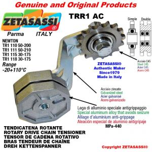 """BRAS TENDEUR DE CHAINE TRR1AC avec pignon tendeur simple 12B1 3\4""""x7\16"""" Z15 Levier 110 Newton 50:200"""