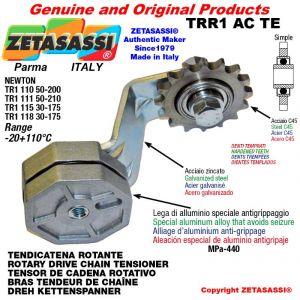 "TENSOR DE CADENA ROTATIVO TRR1ACTE con piñon tensor simple 16B1 1""x17 Z12 endurecido palanca 118 Newton 30:175"