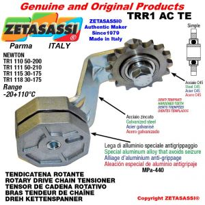 """ROTARY DRIVE CHAIN TENSIONER TRR1ACTE with idler sprocket simple 12B1 3\4""""x7\16"""" Z15 hardened Lever 111 Newton 50:210"""