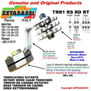 """ROTARY DRIVE CHAIN TENSIONER TRR1RSRDRT with idler sprocket 08B2 1\2""""x5\16"""" Z15 Lever 110 Newton 50:200"""