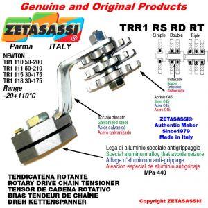 "Tendicatena rotante TRR1RSRDRT con pignone tendicatena 20B2 1""¼x3\4"" doppio Z9 Leva 118 Newton 30:175"