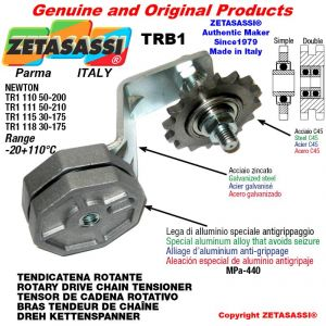 "TENSOR DE CADENA ROTATIVO TRB1 con piñon tensor simple 08B1 1\2""x5\16"" Z16 palanca 118 Newton 30:175"
