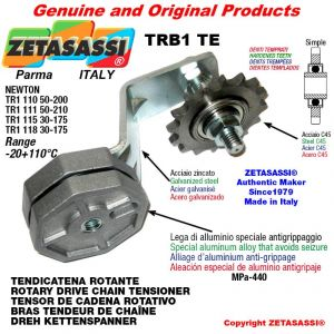 """ROTARY DRIVE CHAIN TENSIONER TRB1TE with idler sprocket simple 08B1 1\2""""x5\16"""" Z16 hardened Lever 115 Newton 30:175"""