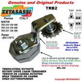 """BRAS TENDEUR DE CHAINE TRB2 avec pignon tendeur double 12B2 3\4""""x7\16"""" Z15 Levier 227 Newton 120:380"""