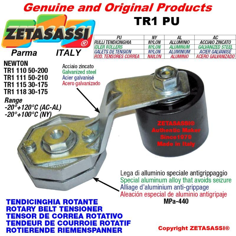 ROTARY DRIVE BELT TENSIONER TR1PU equipped idler roller with bearings  Ø40xL45 in nylon Lever 110 N50:200