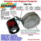 TENSOR DE CORREA ROTATIVO TR2PU con rodillo tensor y rodamientos Ø50xL50 en acero cincado palanca 210 Newton 120:480