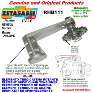 """Elemento tendicatena rotante RHB111 con pignone tendicatena 08B1 1\2""""x5\16"""" semplice Z15 Newton 10-120"""