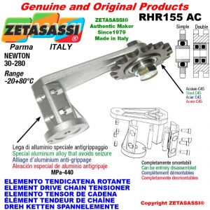"Elemento tendicatena rotante RHR155AC con pignone tendicatena doppio 06B2 3\8""x7\32"" Z21 Newton 30-280"