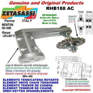 "Elemento tendicatena rotante RHB188 con pignone tendicatena doppio 10B2 5\8""x3\8"" Z17 Newton 50-500"