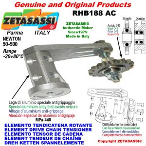 """Elemento tendicatena rotante RHB188 con pignone tendicatena semplice 16B1 1""""x17 Z12 Newton 50-500"""