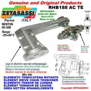 "Elemento tendicatena rotante RHB188TE con pignone tendicatena semplice 06B1 3\8""x7\32"" Z21 temprati Newton 50-500"