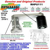 Elemento tendicinghia rotante RHPU111 con rullo tendicinghia Ø50xL50 in acciaio zincato Newton 10:120