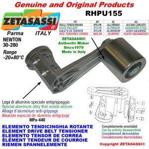ELEMENTO TENDICINGHIA ROTANTE RHPU155 con rullo tendicinghia e cuscinetti Ø30xL35 in alluminio Newton 30:280