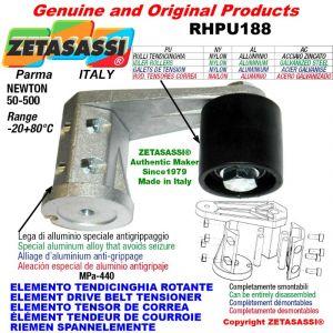 ELEMENTO TENDICINGHIA ROTANTE RHPU188 con rullo tendicinghia e cuscinetti Ø30xL35 in alluminio Newton 50:500